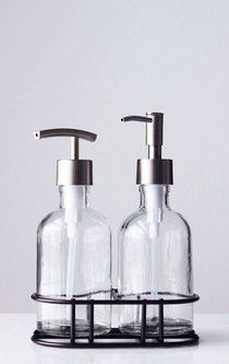 Perfect Pair Glass Clear Soap Dispenser Set With Chrome Caddy I 2020 Saebe