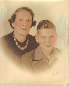 Hand Tinted Photograph Mother & Son Signed Allen Studio Drawn Eyelashes 1940