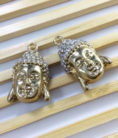 5 pcs gold plating rhinstone Buddha charms for por acejewellery Buddha Jewelry, Buddha Beads, Spiritual Jewelry, Yoga Jewelry, Gold Plating, Diamond Earrings, Charms, Jewelry Design, Pendants