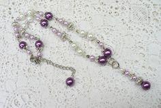 OOAK Vintage Purple and White Glass Faux Pearl by ElegantiTesori
