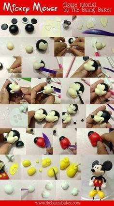 Mickey Mouse Figure Tutorial - This is made out of fondant, but I think I could do this with polymer Clay Cake Topper Tutorial, Fondant Tutorial, Cake Decorating Techniques, Cake Decorating Tutorials, Fondant Toppers, Fondant Cakes, Cupcake Toppers, Fondant Owl, Decors Pate A Sucre
