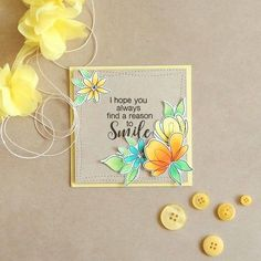 Square card using SSS Spring Flowers and Choose Happy stamp set