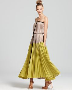 Pleated Ombre Maxi Dress