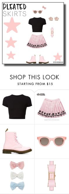 """""""Pleated Skirt Fun"""" by steviesbug ❤ liked on Polyvore featuring Getting Back To Square One, Dr. Martens, Sun Buddies, Decree, Kate Spade and pleatedskirts"""