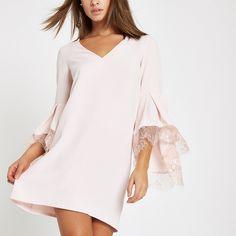 acc8cf6e22 Pink tie detail balloon sleeve dress in 2018