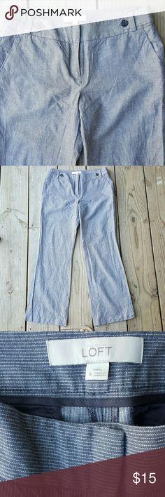"Ann Taylor LOFT pants Marisa fit Cotton/linen/spandex blend, grey with white pinstripe, size 6,  inseam 29"" LOFT Pants"