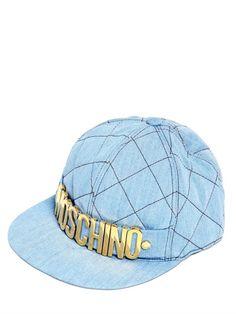 MOSCHINO - QUILTED DENIM HAT - LUISAVIAROMA - LUXURY SHOPPING WORLDWIDE SHIPPING - FLORENCE