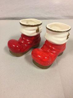 Vintage Ceramic Santa Boots Toothpick Holders Japan  | eBay