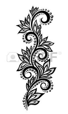 Isolated floral design element With the effect of lace eyelets.Illustration of black and white flowers and leaves Floral design element in retro style vector art, clipart and stock vectors. lace EPS clipart vector and stock illustrations available to Design Floral, Lace Design, Floral Motif, Paisley Design, Lace Tattoo Design, Henna Tattoo Designs, Mehndi Designs, Tattoo Ideas, Hand Embroidery Designs