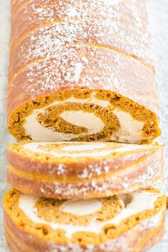 Impress your guests with delicious pumpkin roll! An easy pumpkin sheet pan cake combines with a silky cream cheese filling for an irresistible dessert that will look like you spent hours making it. Pumpkin Roll Cake, Pumpkin Pie Mix, Pumpkin Cheesecake, Pumpkin Spice, Pumpkin Rolls, Pumpkin Cakes, Cheesecake Recipes, Moist Yellow Cakes, Yellow Cake Mixes