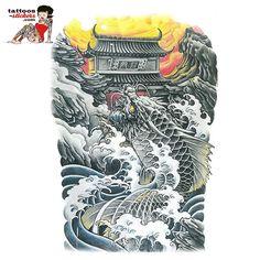 Tattoo poisson Full Back Tattoos Fish x Irezumi Tattoos, Leg Tattoos, Fish Tattoos, Tatoos, Koi Dragon Tattoo, Dragon Fish, Tattoo Samurai, Full Back Tattoos, Style Japonais