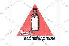 Color vintage tequila emblem Graphics Color vintage tequila emblem. Mexican alcohol drink, berida. Vector illustration, EPS 10 by Netkoff