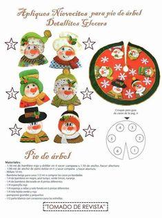 PIE DE ARBOL NAVIDEÑO APLIQUES NIEVES Christmas Holidays, Xmas, Quilt Patterns, Snowman, Quilts, Halloween, Holiday Decor, Crafts, Home Decor