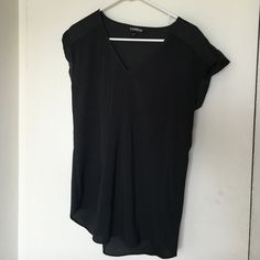 Black Express shirt Black size small Express shirt. Silk like material with capped cuff sleeves. Like new! Express Tops
