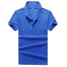 Muchacho de Los Hombres de la Solapa de Color sólido Retro Tops Manga Corta Tee Camiseta Popo Camisa M-3XL