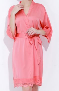 Coral bridesmaid robes satin with lace sleeves Lace Bridesmaids 0f63f00be