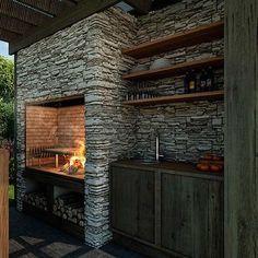 Best Ideas For Backyard Patio Grill Barbecue Outdoor Kitchen Design, Patio Design, Diy Patio, Backyard Patio, Parrilla Interior, Built In Braai, Patio Grill, Rustic Stone, Backyard Retreat