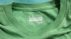 Men T Shirt XL Basic Editions Short Sleeve Pocket Tee Green 100% Cotton NWT #BasicEditions #BasicTee