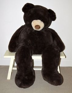 "Huge Giant Life Size Teddy Bear Plush Stuffed Animal 53"" BIG Choc Brown Hugfun #HUGFUN"