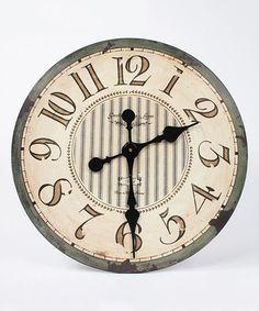 Look at this #zulilyfind! Beige Stripe Wall Clock by Sweet Clocks  #zulilyfinds