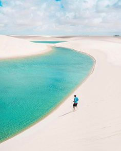 """@visitsouthamerica.co says, """"desert sand dunes and turquoise waters - only in Lençois!"""" Located in Brazil, Lençois Maranhenses is a national park filled with so much beauty. Be sure to follow @visitsouthamerica.co for everything South America! Photo by @isthisreal."""