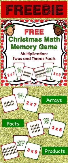 Christmas math game (FREE) makes practicing twos and threes multiplication facts fun! Included are 45 memory cards for students to match the multiplication array, multiplication fact, and product. This is a perfect activity for small groups and centers during the Christmas season! **20% OFF ALL GAMES 4 GAINS PRODUCTS DEC. 1 and 2**