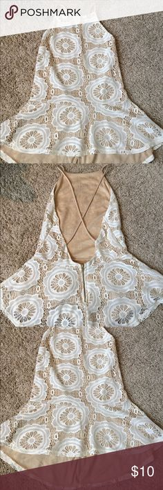 Floral lace peplum sleeveless top Floral lace peplum sleeveless top. White and cream. Worn once. Charlotte Russe Tops Tank Tops