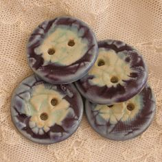 Handmade Buttons textured porcelain two holed by PorcelainJazz on Etsy.