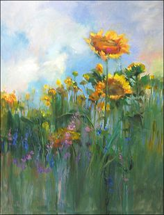 ❀ Blooming Brushwork ❀ - garden and still life flower paintings - Sunflower Sky - by Mary Maxam