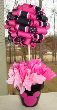 Pink and Black Ribbon topiary, table centerpiece idea for decor