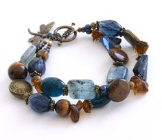 Beautiful color combo...Blue+and+Brown+Dragonfly+Bracelet+7.5+Inches+by+InspiredTheory