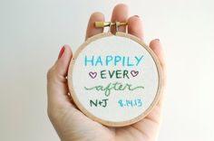 Sweet, simple gift for recently married gals. Custom Wedding Gift. Happily Ever After Embroidered by SHOPHOOPLA, $18.00