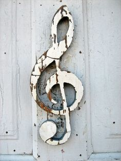 Crackled White Paint  G Clef Recyled Wood Music Art by woodenaht