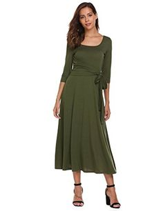 ed6662e459 Zeagoo Womens Elegant Scoop Neck Sleeve Pleated A-Line Swing Party Midi Long  Dress with Waist Tie at Women s Clothing store