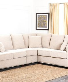 Natural Beige Linen Nailhead Sectional u0026 Pillow Set #zulilyfinds  sc 1 st  Pinterest : nailhead sectional - Sectionals, Sofas & Couches