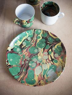 Astier de Villatte Faux Marble Plate (Greens) by Astier de Villatte from Ann Koerner Antiques