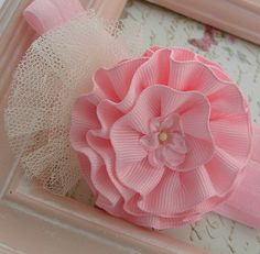 Newborn Headband Rosette Headband Vintage by LittleDivaBoutique, $8.99