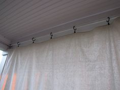 Drop Cloth Curtains for my Patio - Beneath My Heart This site tells how she hung drop cloths on back patio. Might be able to use this info for painting drop cloths and hanging them behind stage? Screened Porch Curtains, Outdoor Curtains For Patio, Backyard Privacy, Backyard Patio, Pergola Curtains, Porch Privacy, Cheap Curtains, Long Curtains, Privacy Screens