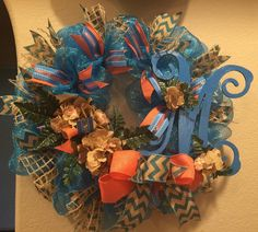 Monogram and Flowers Tiffany Blue, Salmon and Burlap Wreath