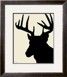 Grahic Deer Silhouette - Creem & Black Photographic Print by PETER GEBHARDT at Art.com