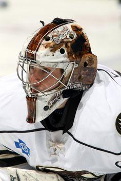 02.15.14 - Hershey Bears goalie David Leggio.  Photo courtesy of JustSports Photography.