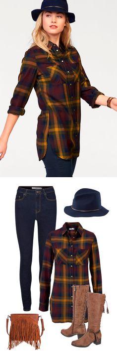 Auch in der großen Stadt kannst du ein Cowgirl sein! Super natürlich harmonieren die Longbluse mit der Skinny-fit-Jeans und den Stiefeln in Used-Optik – Filzhut und Fransentasche runden deinen Countrylook ab. Yeeehaw!