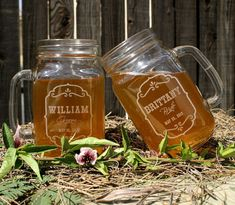 Barn Wedding Favors, Personalized Mason Jar Mugs, Parting Gifts, Rustic Favors, Spring Wedding, Farm Wedding Decor on Etsy, $10.00