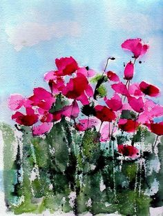 Maddy's Poppies Painting by Anne Duke