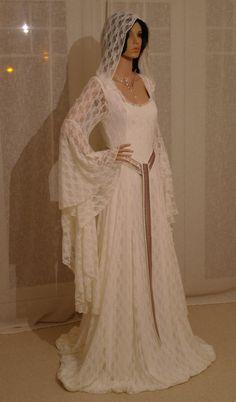 Galadriel Ivory lace dress with hood LOTR Renaissance medieval handfasting  wedding custom made