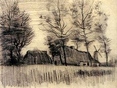 Ван Гог Винсент: Landscape with Cottages and a Mill
