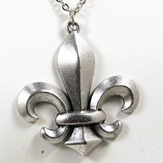 Silver Fleur De Lis Necklace by MithrilDreams on Etsy