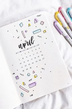 Check out the best bullet journal monthly cover spread ideas for April! - Bullet Journal Monthly Cover Ideas For April 2020 - Crazy Laura Bullet Journal School, April Bullet Journal, Bullet Journal Headers, Bullet Journal Cover Ideas, Bullet Journal Banner, Bullet Journal Notebook, Bullet Journal Inspo, Bullet Journal Ideas Pages, Bullet Journal Layout