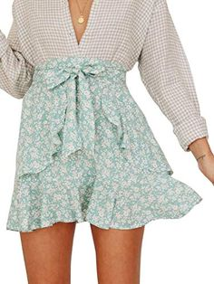 0f5621be5bd Miessial Women s High Waist A Line Mini Skirt Pleated Ruffle Cute Beach  Short Skirt Floral Green)