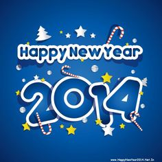 Happy New Year 2014 Blue HD Wallpaper